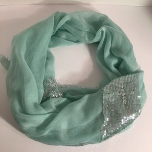 Accessories - Mint & Silver Sequin Scarf